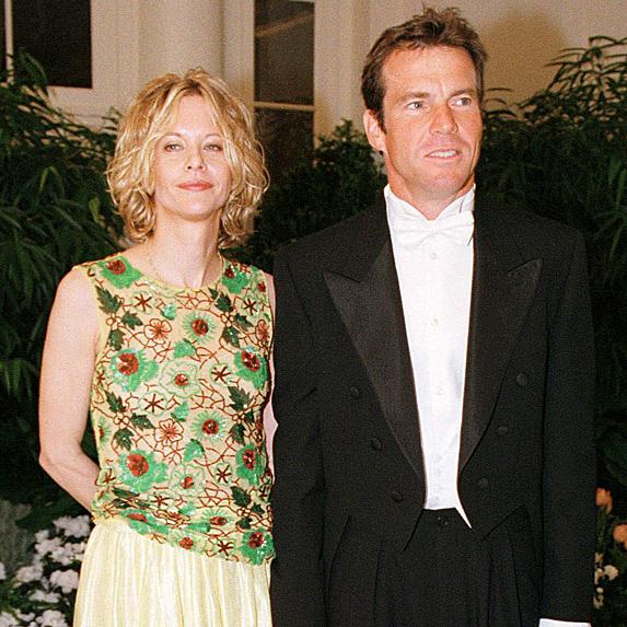 Meg Ryan and Dennis Quaid at White House state dinner in 2000