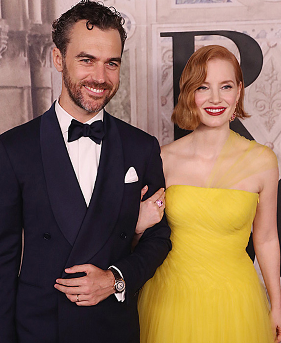 Gian Luca Passi De Preposulo and Jessica Chastain at Fashion Week