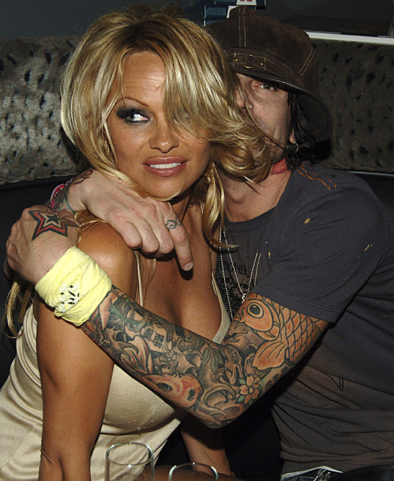 Pamela Anderson and Tommy Lee at Rokbar launch party in 2005