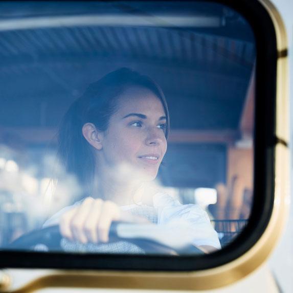 Female drive in vehicle