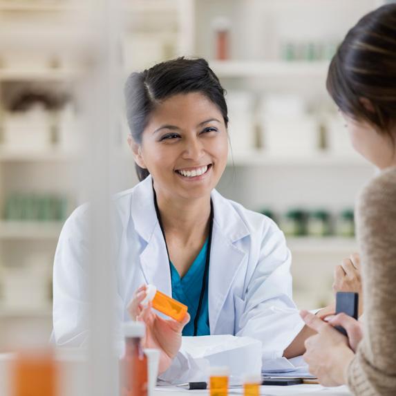 Pharmacist and a customer