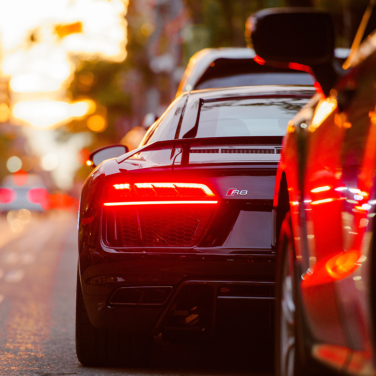 Sexy black car on city street