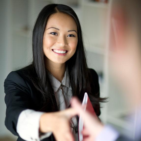 Sales representative in a meeting