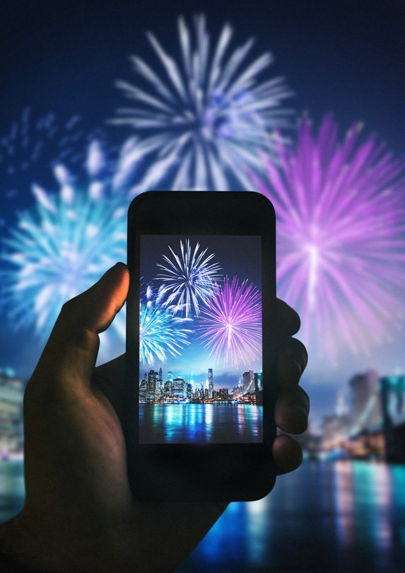 Photographing fireworks with a smartphone