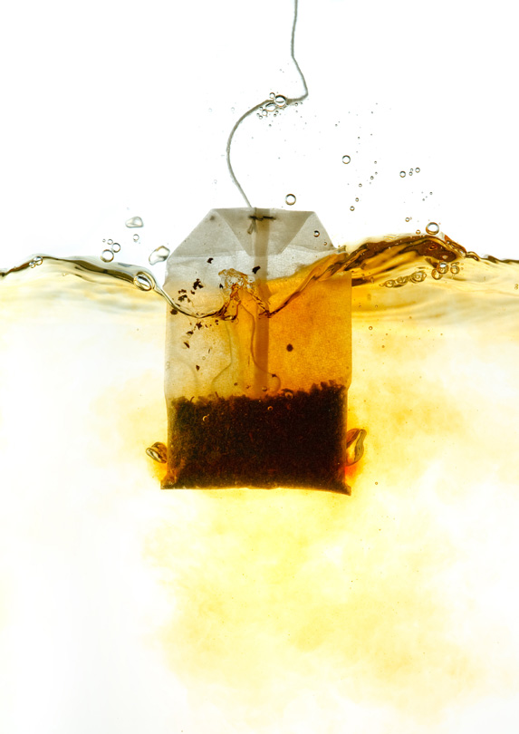 Tea bag in hot water