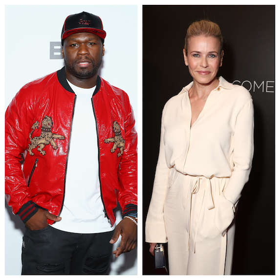 50 Cent and Chelsea Handler in a side-by-side photo