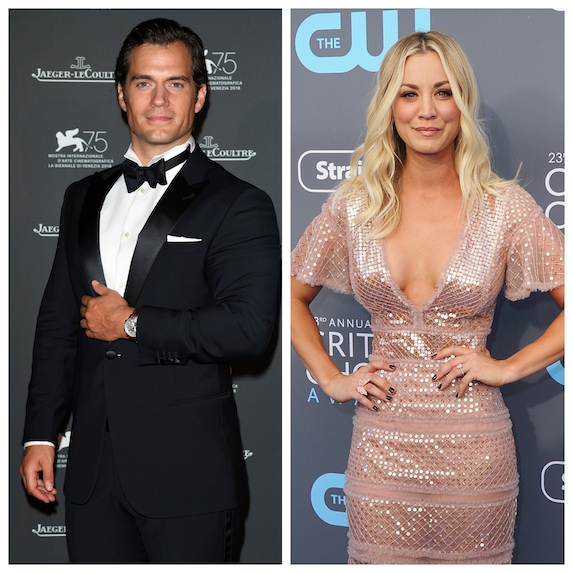 Kaley Cuoco and Henry Cavill pictured in side-by-side images