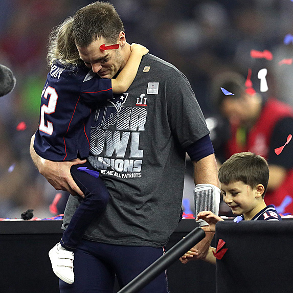 Tom Brady and his daughter and middle son