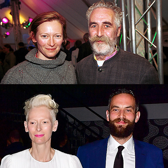 Tilda Swinton and John Byrne, in above pic; Tilda Swinton and Sandro Kopp in bottom pic