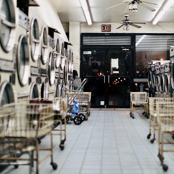 an empty laundromat