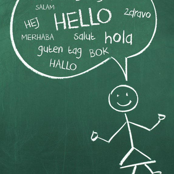 a chalkboard drawing of a person saying hello in multiple languages