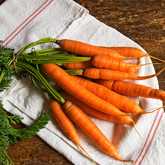Bunch of carrots on dish towel