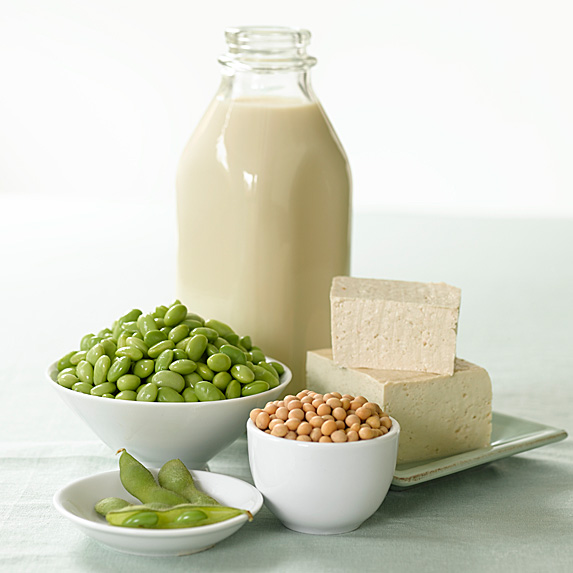 Different kinds of soy products including beans, milk and tofu