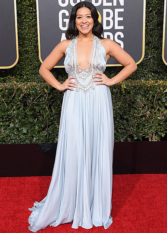 Gina Rodriguez in an icy blue bejewelled dress
