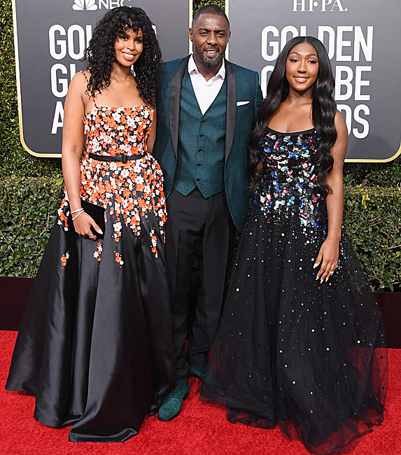 Sabrina Dhowre, Idris Elba and Isan Elba on the Golden Globes red carpet