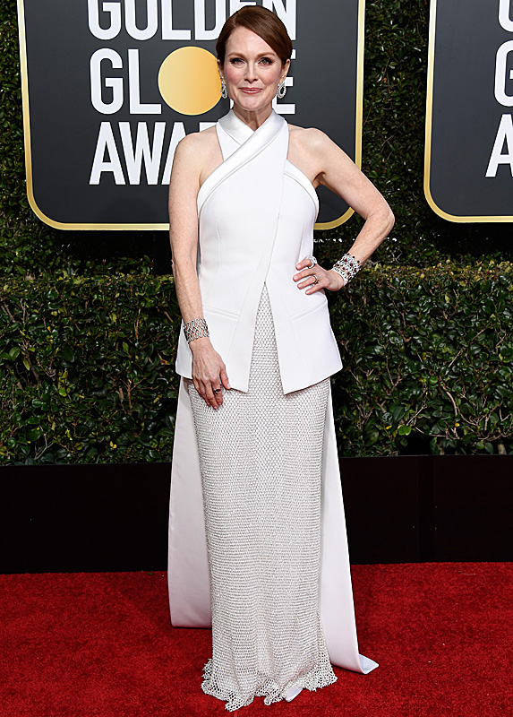 Julianne Moore in a white dress with crossover wrap top