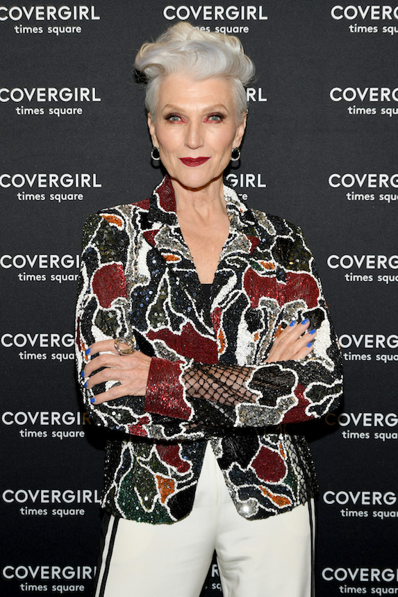 Model Maye Musk poses for photos at a Covergirl event