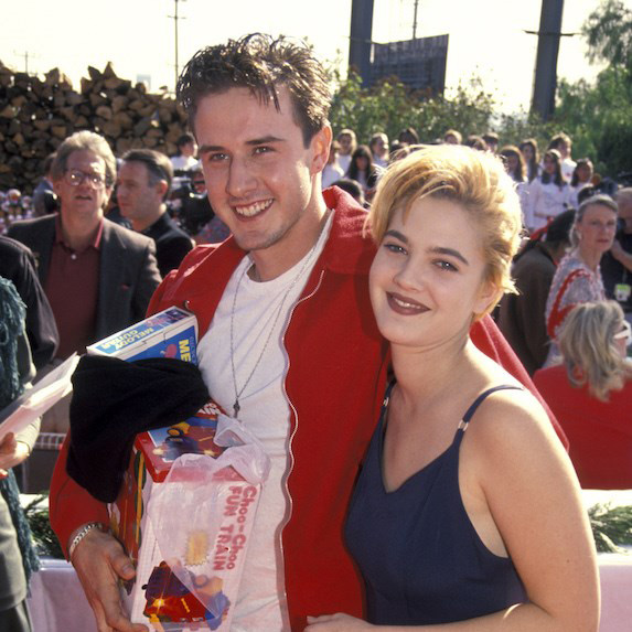 Drew Barrymore and David Arquette on the red carpet