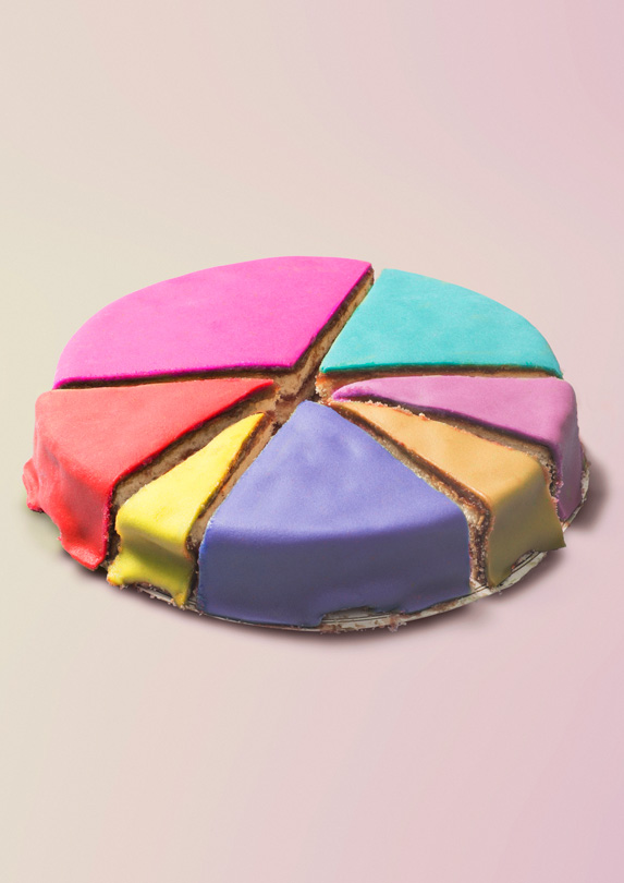 Cake with different coloured pieces