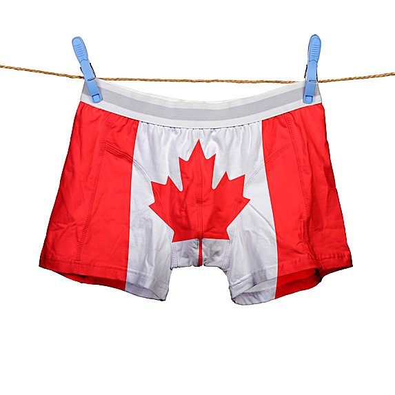 Boxers briefs that looks like Canadian flag