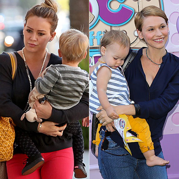 Hilary Duff holding son Luca; Lisa Stelly holding daughter Pearl