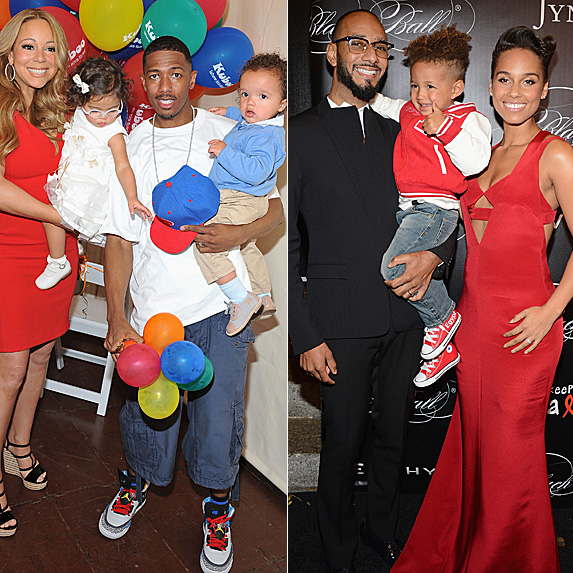 Mariah Carey, Nick Cannon and their twins; Swiss Beatz, Alicia Keys and their son