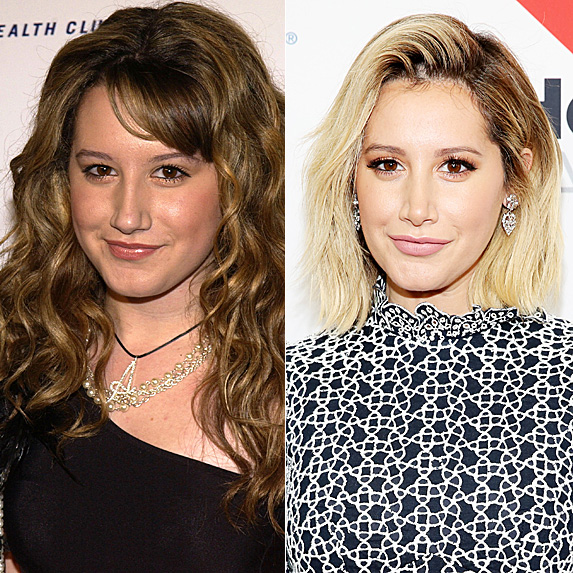 Ashley Tisdale in 2003; and in 2018