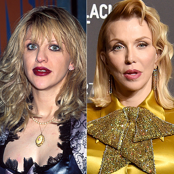 Courtney Love in 1990; and in 2018
