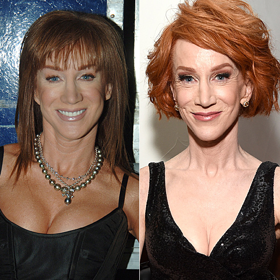 Kathy Griffin in 2005; and in 2018