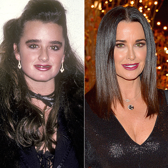 Kyle Richards in 1999; and in 2018