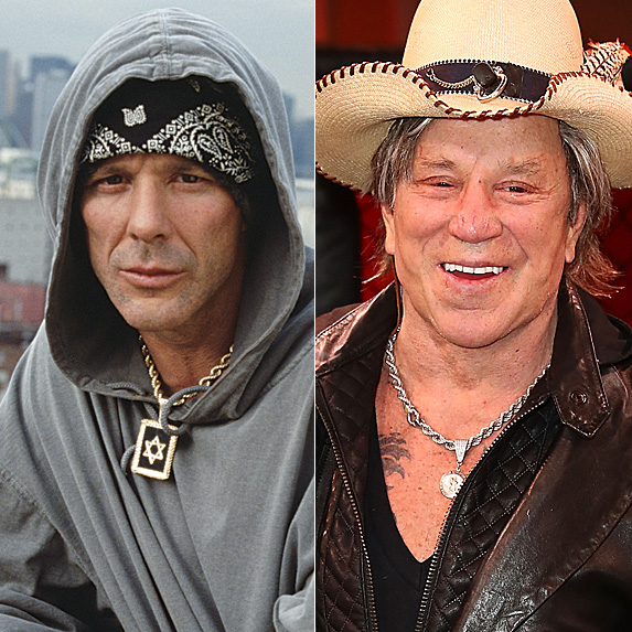 Mickey Rourke in 1996; and in 2018