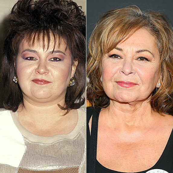 Roseanne Barr in 1987; and in 2018