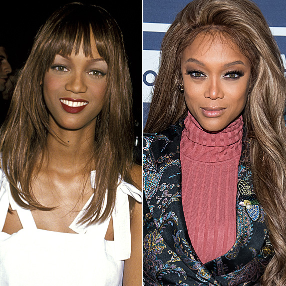 Tyra Banks in 1993; and in 2018