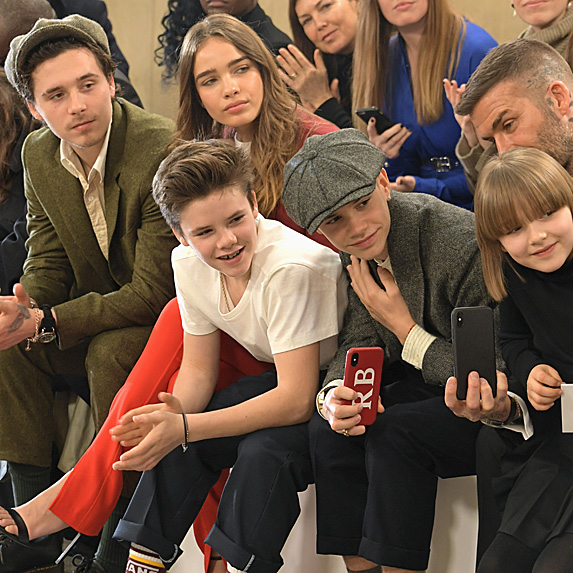 Brooklyn, Romeo, Cruz, David and Harper Beckham and Brooklyn's girlfriend Hana Cross