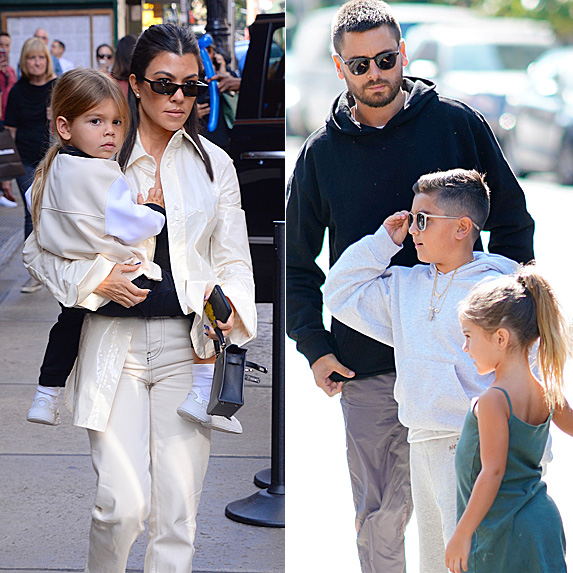 Kourtney Kardashian and daughter Reign; Scott Disick and kids Mason and Penelope