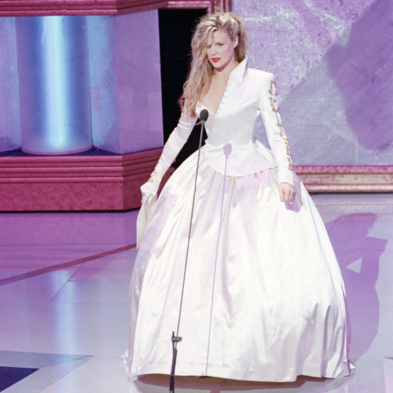 Kim Basinger on stage at the Oscars