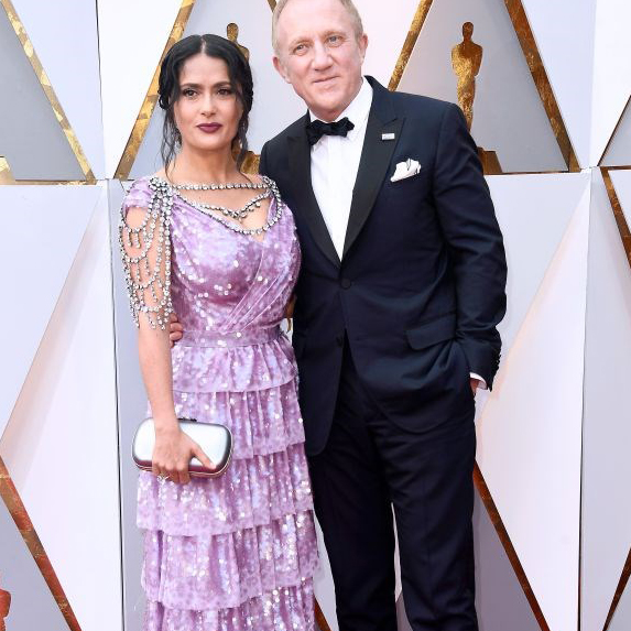 Salma Hayek with her husband on the red carpet