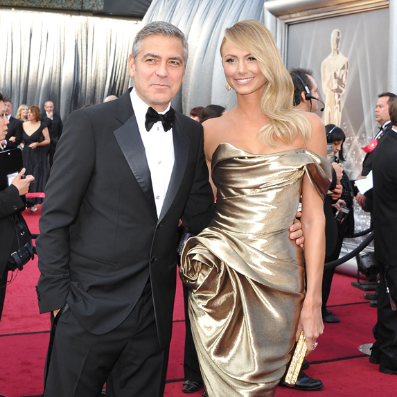 Stacy Kiebler on the red carpet with George Clooney