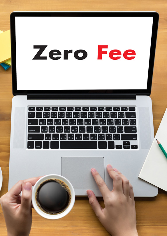 Computer with 'zero fees' written on the screen