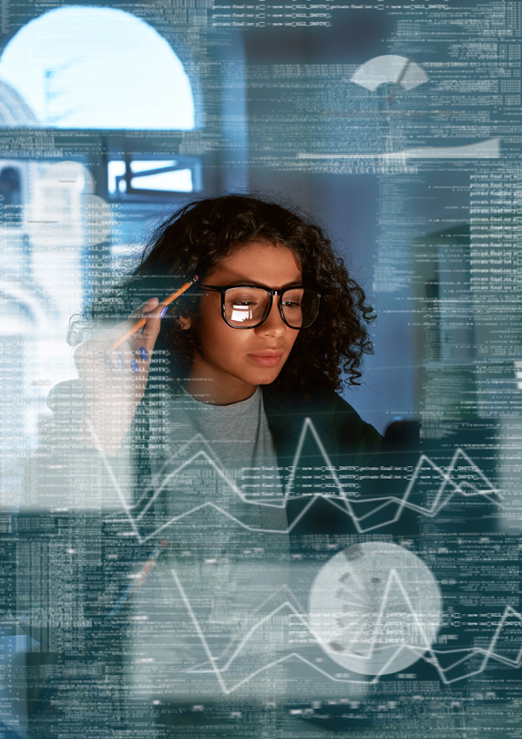 Woman investigating investing options
