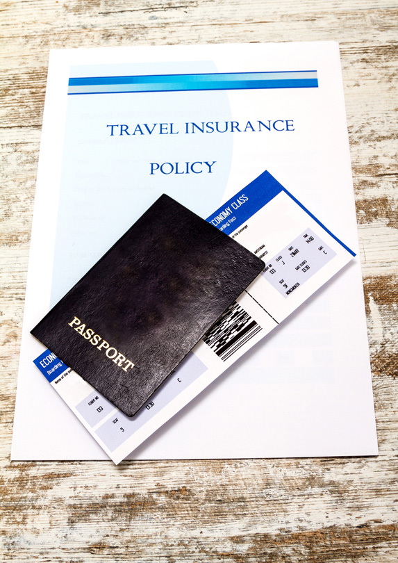 Travel insurance forms and passport
