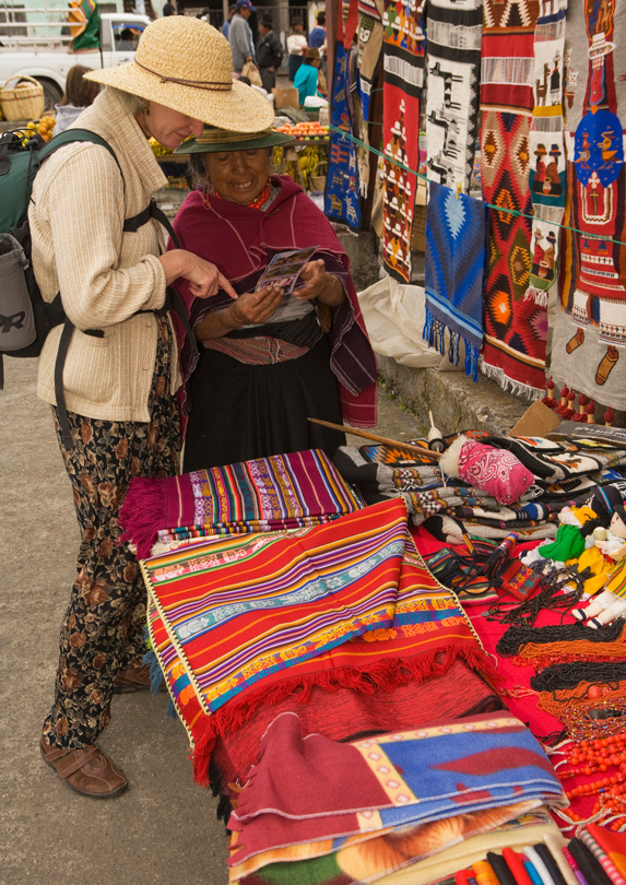 Traveller buying local