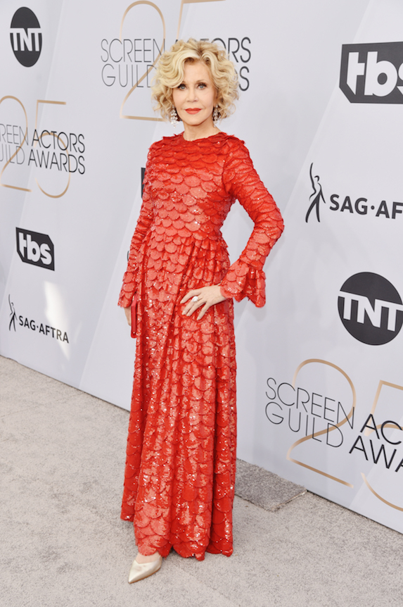 Jane Fonda wears a red sequin dress at the 2019 Screen Actor's Guild Awards
