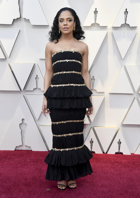 Tessa Thompson wears a black Chanel gown to the 2019 Academy Awards