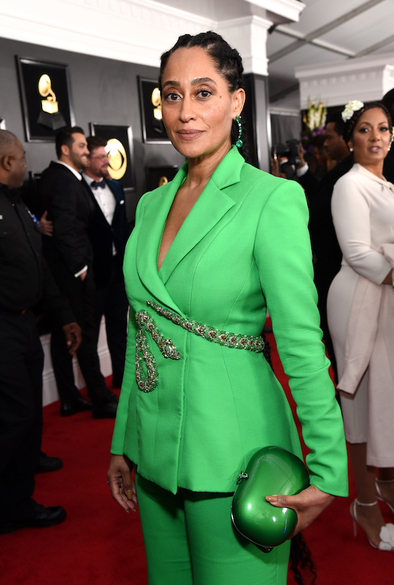 Tracee Ellis Ross wears a bright green suit to the Grammy Awards in 2019