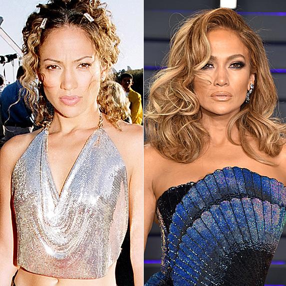 Jennifer Lopez in 1998 and in 2019