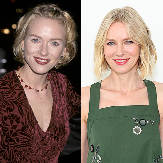 Naomi Watts in 1998 and 2019