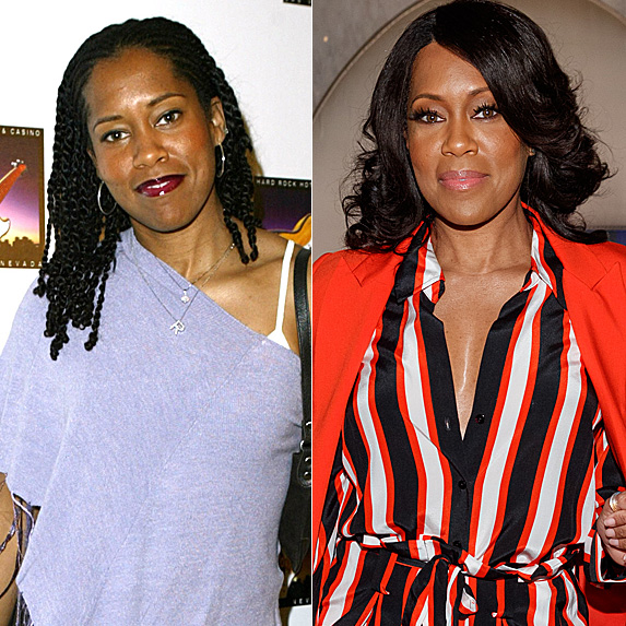 Regina King in 2004 and 2019