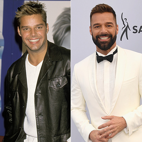 Ricky Martin in 1998 and 2019