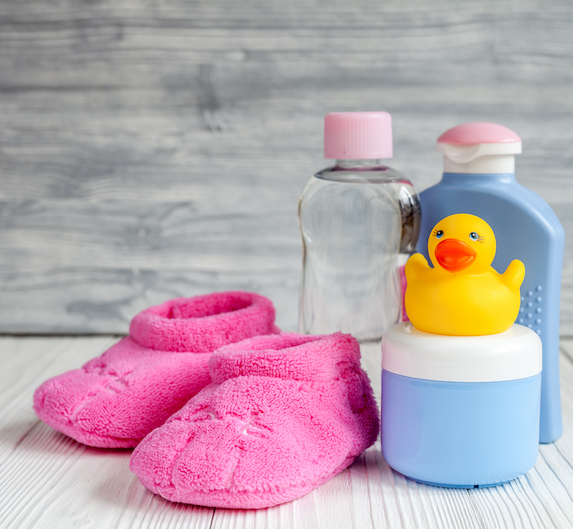 Children's toiletries and fluffy slippers